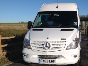 Dean Travel Fleetwood White Mercedes Mini Coach